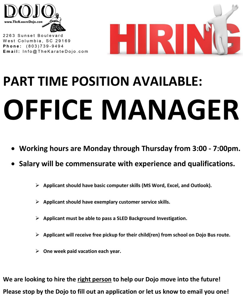 Hiring - Office Manager at The Karate Dojo