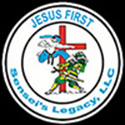 logo for Sensei's Legacy that states Jesus First - Sensei's Legacy LLC, with a picture of a cross and a two warriors fighting. A jump kick is being used against an armored warrior.